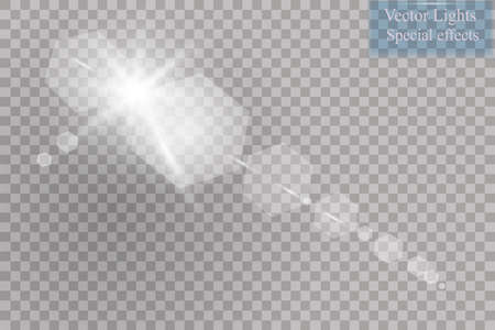 special effects: Vector transparent sunlight special lens flare light effect. Sun flash with rays and spotlight