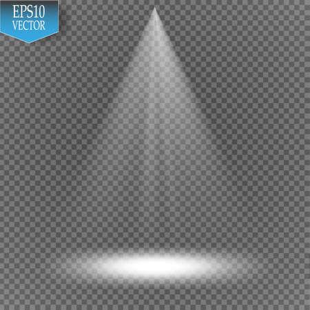 Vector spotlight on transparent background. Light effect Vettoriali