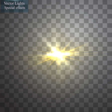 special effect: Glow light effect. Starburst with sparkles on transparent background. Vector illustration.