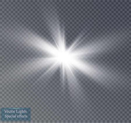 Glow light effect. Starburst with sparkles on transparent background. Vector illustration.