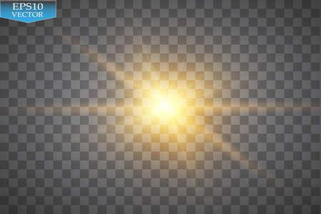 Glow light effect. Starburst with sparkles on transparent background. Vector illustration. Stok Fotoğraf - 83628026