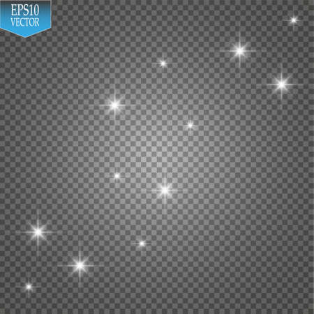 Vector white glitter wave illustration. White star dust trail sparkling particles isolated on transparent background.