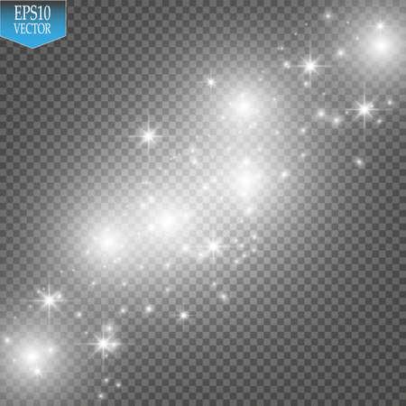 Vector weiße Funkelnwellenillustration. Funkelnde Partikel der weißen Sternstaub-Spur lokalisiert auf transparentem Hintergrund. Vektorgrafik