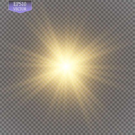 ray of light: Glow light effect. Starburst with sparkles on transparent background. Vector illustration.