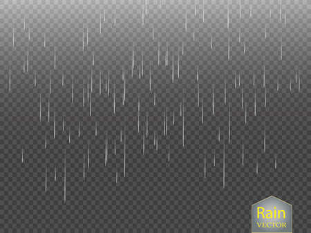 Rain transparent template background. Falling water drops texture. Nature rainfall on checkered background. EPS 10 vector file included Vettoriali
