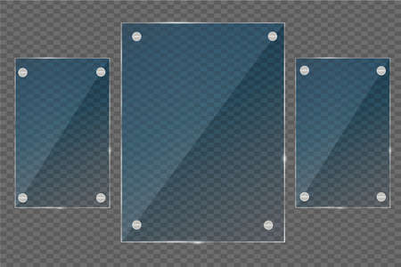 gloss: Glass plates set. Vector glass banners on transparent background.