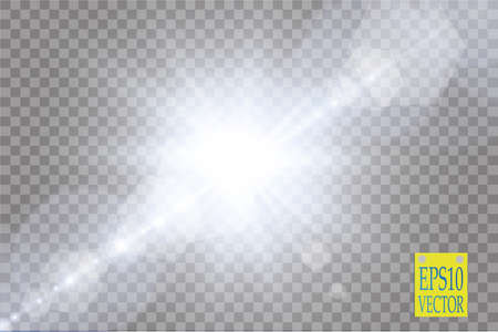 ray of light: Vector transparent sunlight special lens flare light effect.