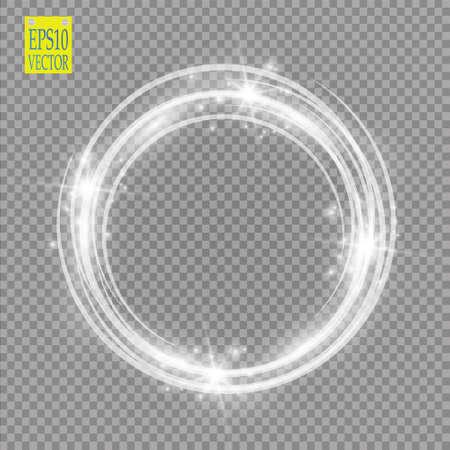 Anillo de luz. Marco redondo brillante con partículas de luz polvo camino aisladas sobre fondo transparente. Ilustración de vector
