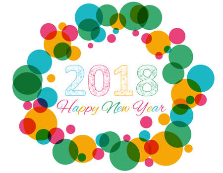 Happy New Year 2018 multicolor background for your greetings card illustration Illustration