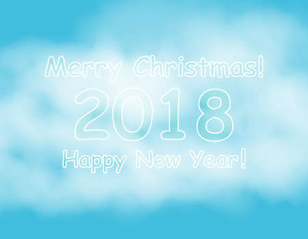 New Year banner template with Christmas balls. Blue background with bokeh, snow, fog and snowflakes. Silver frame. Glitter sequins. Flyer and coupon design template. Vector EPS10 illustration.