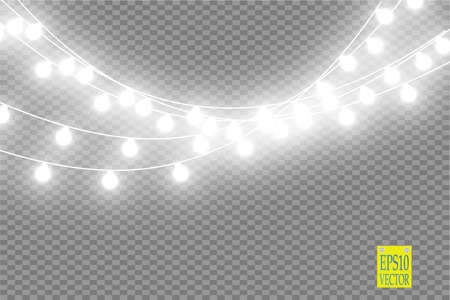 Christmas lights isolated on transparent background. Xmas glowing garland. Vector illustration Imagens