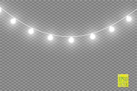 christmas lights isolated on transparent background xmas glowing garland vector illustration stock illustration