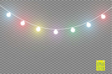 Christmas lights isolated on transparent background. Xmas glowing garland. Vector illustration Stock Photo