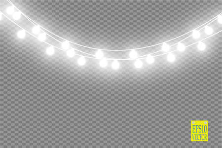 Lampki choinkowe na przezroczystym tle. Świecąca girlanda świąteczna. Ilustracja wektorowa