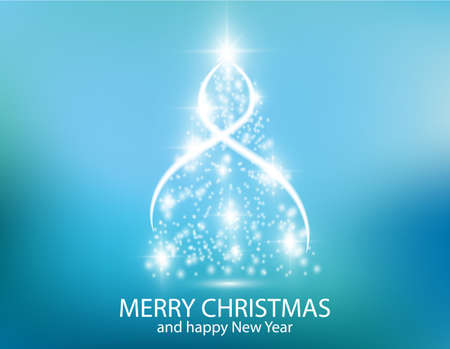 bright: Christmas tree from light vector background. Greeting card or invitation. Eps 10. Merry Christmas and New Year 2018 typographical on holidays background