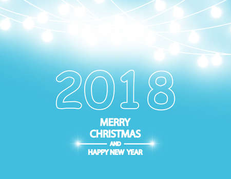 bright: Merry Christmas and New Year 2018 typographical on holidays background with winter landscape with garland. Vector.