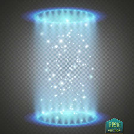 Portail fantaisie magique. Téléportation futuriste. Effet de lumière. Bougies bleues rayons d'une scène de nuit avec des étincelles sur un fond transparent. Effet de lumière vide du podium. Club disco dancefloor. Banque d'images - 87443057