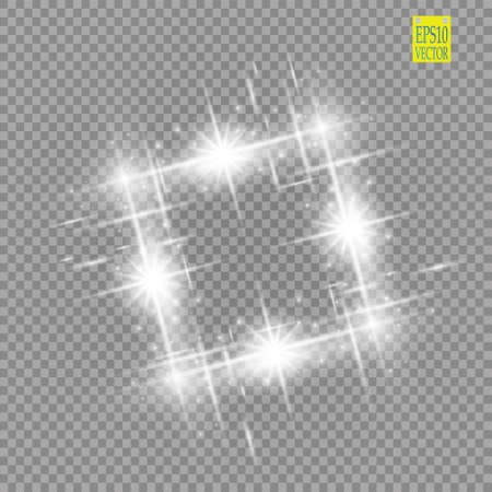 Abstract luxury white vector light flare spark light effect. Sparkling glowing square frame on transparent. Starlight moving background. Glow blurred space for message or logo.