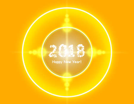 Happy new year 2018 in lens flare pattern Illustration
