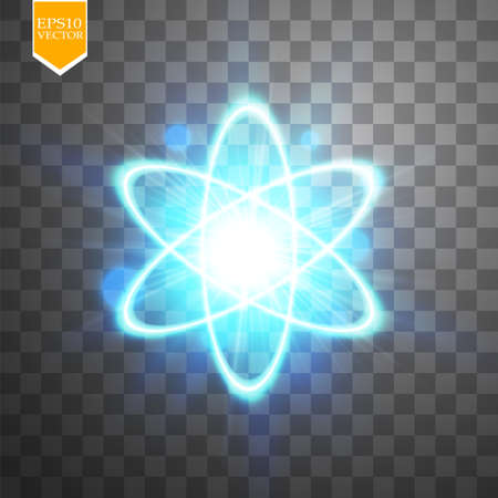 Shining atom scheme. Isolated on black transparent background. Vector illustration, Illustration