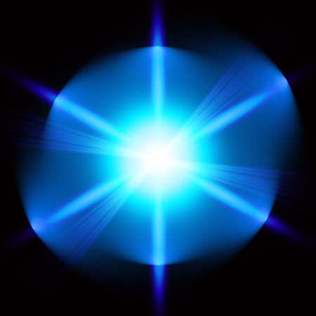 Light digital star on the black background