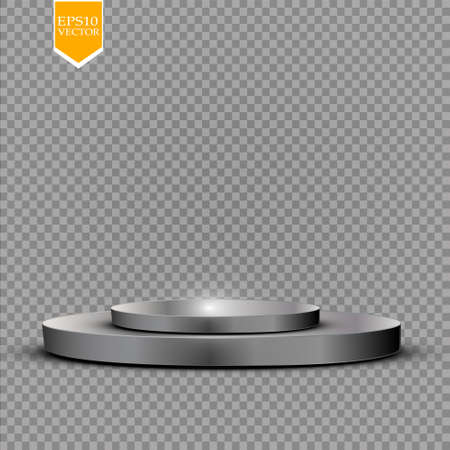 Realistic round white display podium isolated on transparent background. Perspective circle plinth, pillar, pedestal. Vector cylinder empty stage platform stand with light for your advertising design.