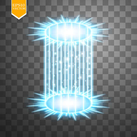 Magic fantasy portal. Futuristic teleport. Light effect. Blue candles rays of a night scene with sparks on a transparent. Empty light effect of the podium. Disco club dancefloor.