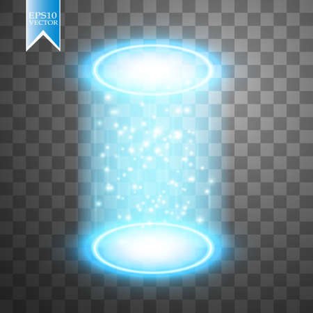 Magic fantasy portal or futuristic teleport, light effect on a transparent background.