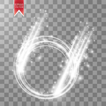 Vector falling light ring. Round shiny frame with lights dust trail particles isolated on transparent background. Illustration