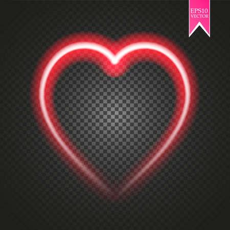 Bright neon heart. Heart sign on dark transparent background. Neon glow effect. Vector Illustration