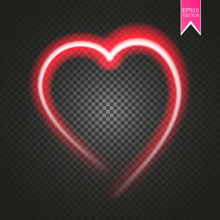 Bright neon heart. Heart sign on dark transparent background. Neon glow effect.