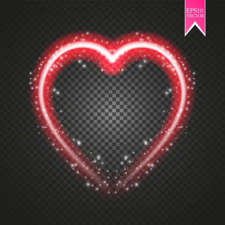 Bright neon heart. Heart sign on dark transparent background. Neon glow effect. Vector. eps 10.