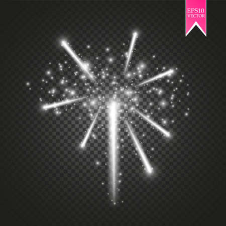 Firework lights effect with glowing stars in sky isolated on transparent illustration. Vettoriali