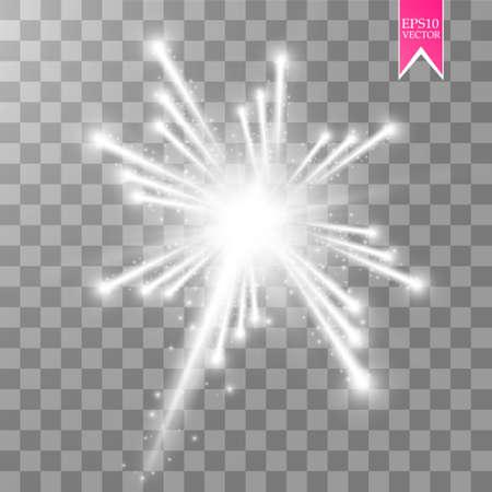 透明な背景で隔離の空に輝く星と花火ライト効果。白いベクトルお祝いパーティー ロケット バーストや敬礼ショーあなたの設計のため。eps 10