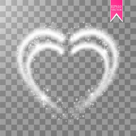 Shiny heart-shaped frame on transparent background. Holiday vector illustration Ilustração