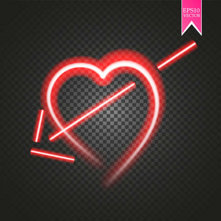 Bright neon heart. Heart sign with cupid arrow on dark transparent background. Neon glow effect.