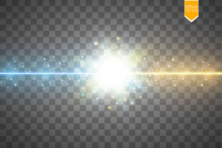 Collision of two forces with gold and blue light. Hot and cold sparkling power. Energy lightning with electric discharge.