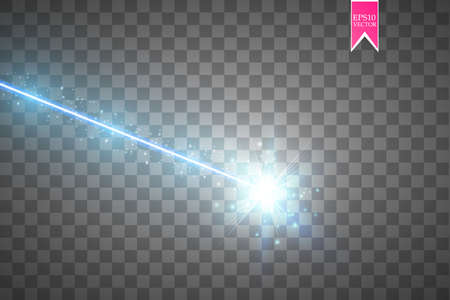 Abstract blue laser beam. Isolated on transparent black background. Vector illustration