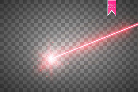 Abstract red laser beam. Isolated on transparent black background.