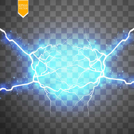 Blue abstract energy shock explosion special light effect with spark. Vector glow power lightning cluster. Electric discharge on transparent background. High voltage charged core