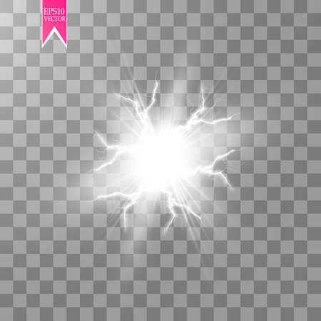 White abstract energy shock explosion special light effect with spark. Vector glow power lightning cluster. Electric discharge on transparent background. High voltage charged core