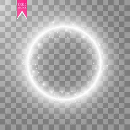 Anneau lumineux de vecteur. Cadre brillant rond avec des particules de traînée de poussière de lumières isolé sur fond transparent.