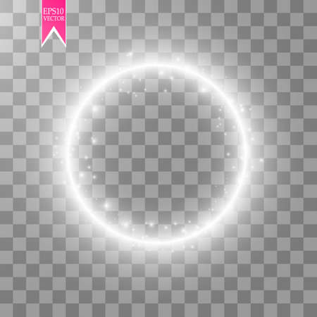 Vector light ring. Round shiny frame with lights dust trail particles isolated on transparent background. 版權商用圖片 - 95917033