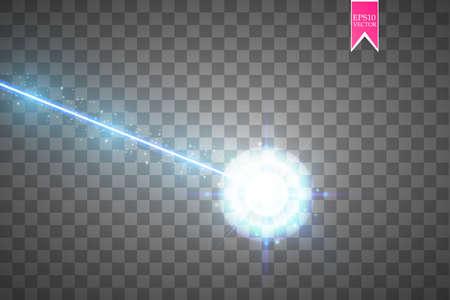 Abstrakter blauer Laserstrahl. Lasersicherheitsstrahl lokalisiert auf transparentem Hintergrund. Lichtstrahl mit Leuchtzielblitz. Vektor-illustration