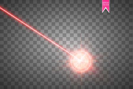 Resumen rayo láser rojo. Haz de seguridad láser aislado sobre fondo transparente. Rayo de luz con destello de brillo. Ilustración vectorial