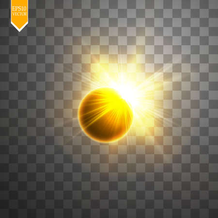 Total solar eclipse vector illustration on transparent background. Full moon shadow sun eclipse with corona vector illustration Illustration