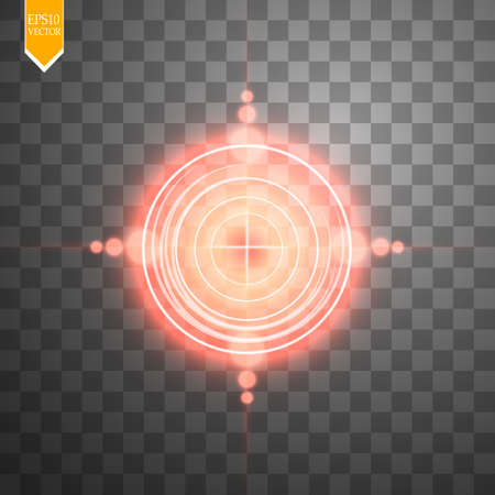 Neon red target isolated. Game Interface Element. Vector illustration Illustration