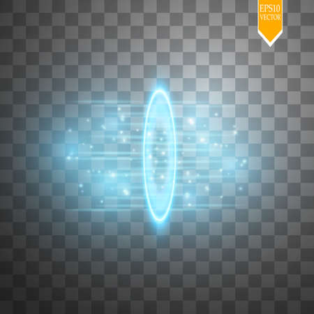 Round blue glow rays night scene with sparks on transparent background. Show party, beam stage. Magic portal, teleport. Illustration