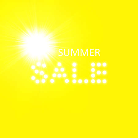 Super summer sale banner with sun on the yellow background. Business seasonal shopping concept, vector Illustration