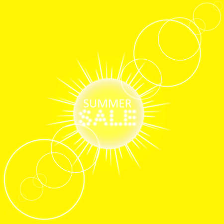 Super summer sale banner with sun on the yellow background. Business seasonal shopping concept, vector.